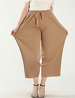 cheap -Women's Streetwear Folk Style Plus Size Holiday Daily Wear Chiffon Pants Pleated khaki Large size