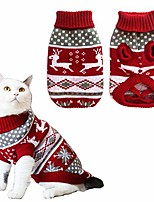 cheap -dog christmas sweaters pet winter knitwear xmas clothes classic warm coats reindeer snowflake argyle sweater for kitty puppy cat-xs