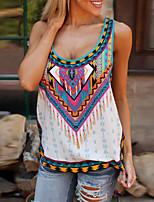 cheap -Women's T-shirt Tie Dye Print Round Neck Tops Loose Basic Basic Top White