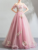 cheap -Ball Gown Elegant Floral Engagement Formal Evening Dress Off Shoulder Short Sleeve Floor Length Organza Tulle with Pleats Embroidery 2020