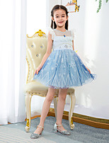 cheap -Fairytale Dress Girls' Movie Cosplay Cosplay Princess Vacation Dress Blue Dress Children's Day Polyester / Cotton