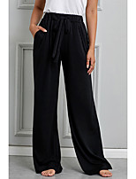 cheap -Women's Basic Breathable Loose Daily Wide Leg Pants Solid Colored Full Length High Waist Black Blue Green