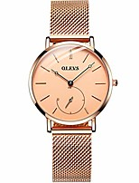 cheap -women rose gold watch for women waterproof simple minimalist watch stainless steel mesh lady business casual watch for mother