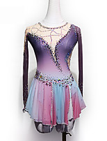 cheap -Figure Skating Dress Women's Girls' Ice Skating Dress Purple Glitter Patchwork Spandex High Elasticity Competition Skating Wear Handmade Crystal / Rhinestone Long Sleeve Ice Skating Winter Sports