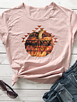 cheap -Women's Halloween T-shirt Graphic Prints Pumpkin Print Round Neck Tops 100% Cotton Basic Halloween Basic Top White Purple Red