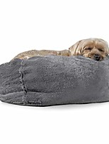cheap -pet dog bed - round plush faux fur refillable ball nest cushion pet bed with removable cover for dogs and cats, gray mist, small