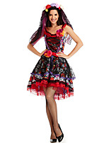 cheap -Ghostly Bride Cosplay Costume Outfits Adults' Women's Cosplay Vacation Dress Halloween Halloween Festival / Holiday Polyester Black Women's Easy Carnival Costumes / Headpiece / Headpiece