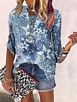cheap -Women's Blouse Shirt Star Long Sleeve Pocket Print V Neck Tops Loose Basic Basic Top Blue Blushing Pink Green