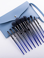 cheap -10pcs Makeup Brushes Set Blue Enchantress Makeup Brushes Gradient Blue Plastic Handle Fiber Hair Beauty Tool Set Professional Travel Size Plastic for Makeup Brush Set