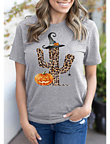 cheap -Women's Halloween T-shirt Leopard Graphic Prints Cheetah Print Print Round Neck Tops 100% Cotton Basic Halloween Basic Top Gray