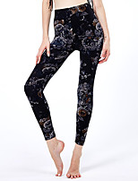 cheap -Women's Sporty Yoga Comfort Skinny Daily Leggings Pants Floral Ankle-Length High Waist Black Purple Red