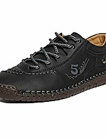 cheap -Men's Oxfords Casual Daily Cowhide Breathable Non-slipping Shock Absorbing Black / Army Green / Khaki Spring / Fall