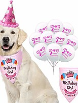 cheap -dog birthday girl bandana, [ perfect dog or puppy birthday gift ] with paw print party cone hat and 10 balloons - reusable pet birthday gift decorations set