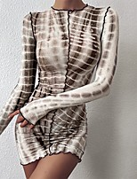 cheap -Women's Sheath Dress Short Mini Dress - Long Sleeve Striped Print Fall Sexy Slim 2020 Brown S M L