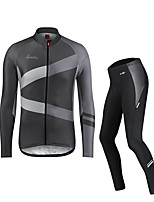 cheap -SANTIC Men's Long Sleeve Cycling Jacket Cycling Tights Fleece Spandex Dark Gray Novelty Bike Fleece Lining Breathable Warm Sports Novelty Mountain Bike MTB Road Bike Cycling Clothing Apparel