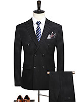 cheap -Tuxedos Standard Fit Notch Double Breasted Six-buttons Polyester Solid Color / Stripes