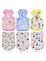 cheap -Dog Cat Vest Animal Character Rabbit / Bunny Casual / Daily Dog Clothes Yellow Blue Pink Costume Fabric XS S M L XL XXL