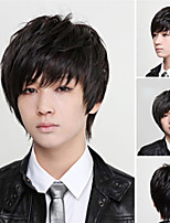 cheap -Synthetic Wig Straight Pixie Cut With Bangs Wig Short Natural Black Synthetic Hair Men's Classic Fluffy Black