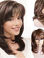 cheap -Synthetic Wig Curly Asymmetrical With Bangs Wig Medium Length Brown Synthetic Hair 18 inch Women's Fashionable Design Party Exquisite Brown