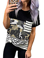 cheap -women's short sleeves crewneck leopard striped camo pocket plus size t shirts loose fit color block tops