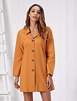cheap -Women's Shift Dress Short Mini Dress - Long Sleeve Solid Color Fall Shirt Collar Casual Loose 2020 Orange S M L XL