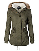cheap -women's faux fur hoodie sherpa lined military safari utility fashion jacket olive 3xl