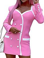 cheap -Women's Sheath Dress Short Mini Dress - Long Sleeve Solid Color Summer Fall V Neck Sexy Slim 2020 Blushing Pink S M L XL
