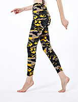 cheap -Women's Sporty Yoga Comfort Skinny Daily Leggings Pants Camouflage Ankle-Length High Waist Yellow
