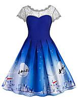 cheap -Women's A-Line Dress Knee Length Dress - Short Sleeve Print Lace Print Fall Vintage Christmas Slim 2020 Blue Red Green S M L XL