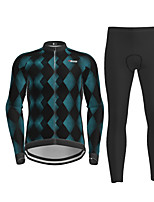 cheap -21Grams Men's Long Sleeve Cycling Jersey with Tights Black Bike Breathable Quick Dry Moisture Wicking Sports Geometic Mountain Bike MTB Road Bike Cycling Clothing Apparel / Micro-elastic