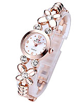 cheap -fashion womens girls crystal accented flower design rose gold metal luxury bracelet watch (rose gold flower rhinestone)