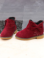 cheap -Girls' Boots Combat Boots Leather Little Kids(4-7ys) Walking Shoes Black / Red Fall / Winter / Booties / Ankle Boots