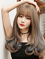 cheap -Synthetic Wig Curly With Bangs Wig Long Light Brown Lace Blue Black Synthetic Hair 22 inch Women's Soft Comfortable Fluffy Blue
