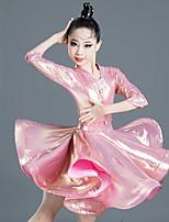 cheap -Latin Dance Dress Side Draping Ruching Solid Girls' Training Performance Half Sleeve Polyester