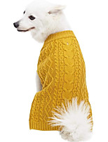 cheap -Dog Cat Sweater Solid Colored Classic Casual / Daily Winter Dog Clothes Puppy Clothes Dog Outfits Breathable Light Yellow Black Yellow Costume for Girl and Boy Dog Fleece Nylon Polyster 10 12 14 16