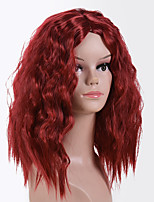 cheap -Synthetic Wig Tight Curl Middle Part Wig Medium Length Wine Red Synthetic Hair 16 inch Women's Classic Exquisite Coloring Burgundy