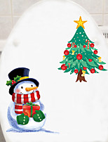 cheap -Christmas Decorations / Holiday Wall Stickers Holiday Wall Stickers Toilet Stickers, PVC Home Decoration Wall Decal Toilet / Fridge Decoration 1pc