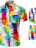 cheap -Men's Swim Shirt Swim Trunks Rash Guard Sun Shirt Board Shorts Breathable Quick Dry UPF50+ Short Sleeve 2-Piece - Swimming Surfing Water Sports Painting Summer