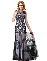 cheap -Mermaid / Trumpet Elegant Floral Engagement Formal Evening Dress Illusion Neck Sleeveless Floor Length Lace with Pleats 2020