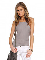 cheap -Women's Camisole Solid Colored Round Neck Tops Basic Basic Top Black Khaki Gray