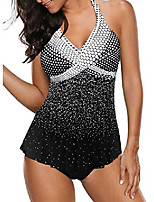 cheap -womens two piece tankini swimsuit swimwear fashion polka dot print bathing suit tummy control halter tankini top with brief black medium 8 10
