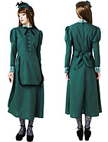 cheap -Maid Costume Cosplay Costume Outfits Adults' Women's Cosplay Vacation Dress Halloween Halloween Festival / Holiday Polyester Green / Drak Red Women's Easy Carnival Costumes / Headwear / Headwear