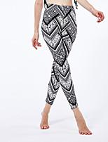 cheap -Women's Sporty Yoga Daily Skinny Leggings Pants Geometric Pattern Comfort High Waist Black One-Size