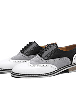 cheap -Men's Oxfords Daily Walking Shoes PU Wear Proof Black / Brown Color Block Spring / Fall