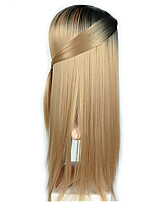 cheap -Synthetic Wig Straight kinky Straight Middle Part Wig Very Long Black / Gold Grey Burgundy Synthetic Hair Women's Ombre Hair Dark Gray Burgundy