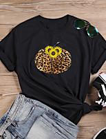 cheap -Women's Halloween T-shirt Leopard Graphic Prints Cheetah Print Print Round Neck Tops 100% Cotton Basic Halloween Basic Top White Black Purple