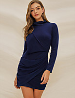 cheap -Women's Sheath Dress Knee Length Dress - Long Sleeve Solid Color Ruched Spring Fall Elegant Going out Slim 2020 Blue Green S M L XL XXL