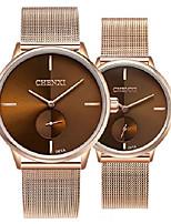 cheap -swiss brand couple watch men women stainless steel rose gold mesh strap waterproof watches (brown)