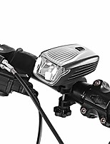 cheap -bike head light, ipx5 waterproof led bicycle front light usb rechargeable bike accessory(silver)
