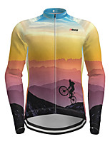 cheap -Men's Long Sleeve Cycling Jersey Purple Novelty Bike Jersey Top Mountain Bike MTB Road Bike Cycling Quick Dry Sports Clothing Apparel / Micro-elastic